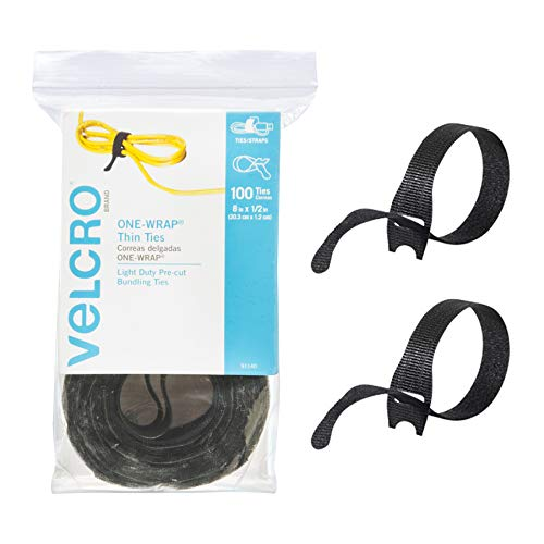 VELCRO Brand ONEWRAP Cable Ties | 100Pk | 8 x 1/2quot Black Cord Organization Straps | Thin PreCut Design | Wire Management for Organizing Home Office and Data Centers