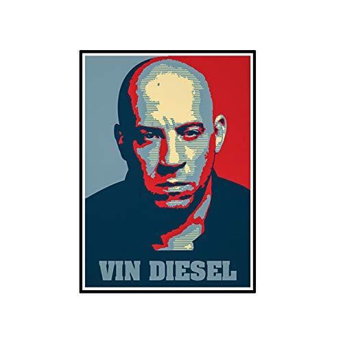 ADNHWAN Fast & Furious Movie Star Actor Vin Diesel Retrato póster Pared Arte Imagen decoración Impresiones Lienzo decoración del hogar Pintura -50X70cm sin Marco 1 Uds