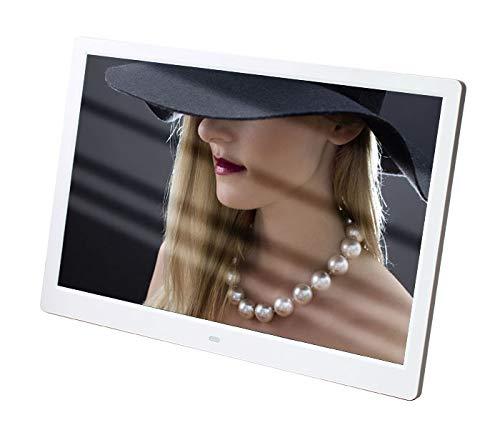 Marco de Fotos Digital 15.4 Pulgadas con la presentación automática de Diapositivas con USB, Stereo / MP3 / Calendario/Reloj/Tiempo/Control Remoto, Compartir Momentos al Instante,Blanco