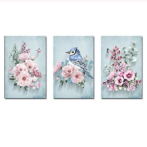 zhaoyangeng Amerikaanse kunst roze bloemen moderne blauwe vogels muurkunst afbeeldingen canvasdruk schilderijen voor woonkamer wooncultuur - 40X60Cmx3 niet ingelijst