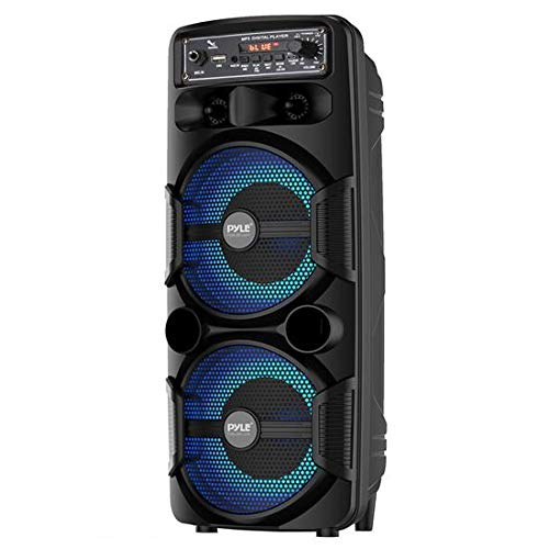 """Portable Bluetooth PA Speaker System - 600W Rechargeable Outdoor Bluetooth Speaker Portable PA System w/Dual 8"""" Subwoofer 1"""" Tweeter, Microphone in, Party Lights, USB, Radio, Remote - Pyle PPHP2835B"""