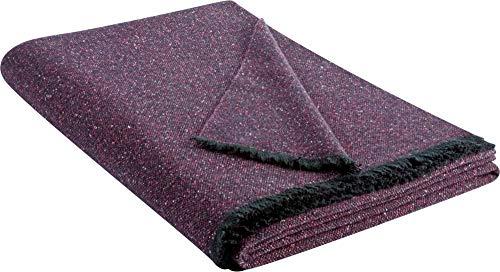 Biederlack Decke Sofaüberwurf Plaid Wolle Lila 130 x 170 cm