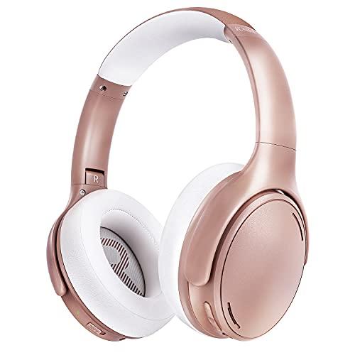 Casque Reduction de Bruit Active, Casque sans Fil Pliable et Confortable, 35 Heures Stéréo Hi-FI Casque avec CVC 8.0 Micro, Charge Rapide Casque Audio & Mode Filaire, pour Téléphone PC iPad, Rose