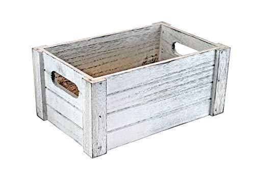 Holzkiste im Vintage - Used - Look - weiß - Größe M (ca. 230 x 140 x 120 mm L/B/H innen) - Deko - Kiste - Stiege - Box - Präsentkorb leer