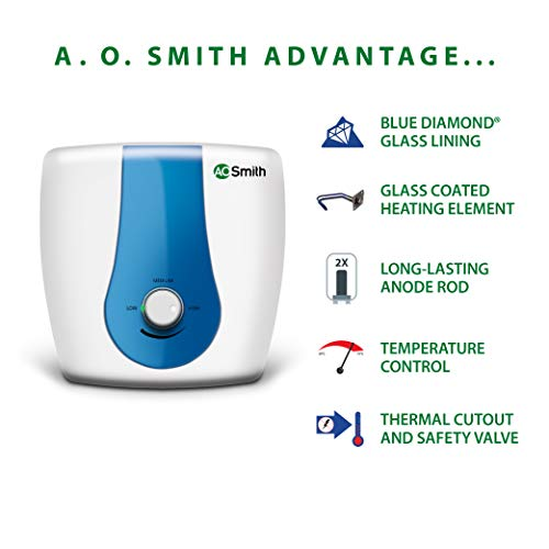 AO Smith SDS-GREEN SERIES-015 Storage 15 Litre Vertical Water Heater (Geyser) White 5 Star