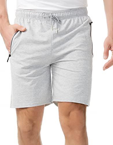 WELLQUA Pantaloncini Uomo Sportivi, Cerniera Riflettente Pantaloncini con Tasche Uomo,Uomini Pantalone Corti in Cotone (Grigio, M, m)