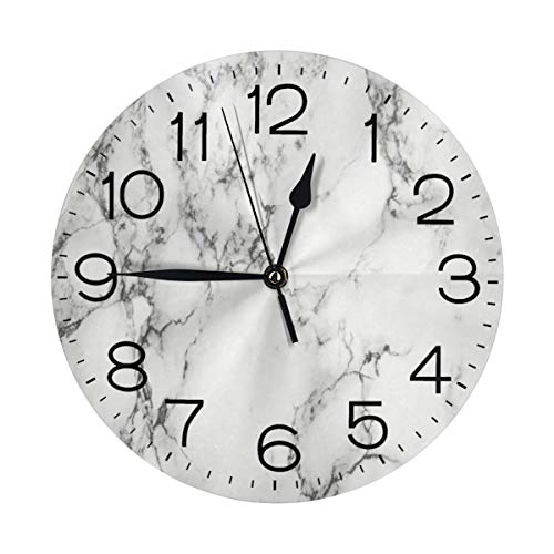 KZEMATLI Home Decor Marble Wall Clock Non Ticking Silent Clock Art for Living Room Kitchen Bedroom Clock