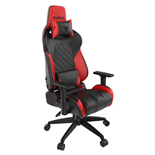 Gamdias Achilles E1 Gaming Chair Customizable RGB Back Light with Leather Style Vinyl seat, tilt with Adjustable Back Angle,2D Adjustable armrest, Class 4 Hydraulic Pistons - Black/Red