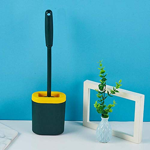Cepillo de baño suave con mango largo para inodoro montado en la pared, cepillo de baño de silicona, cepillo de limpieza para inodoro (verde)