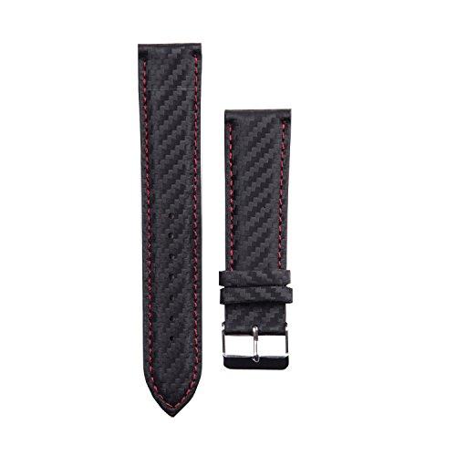Smartwatch Wechselarmband 22mm Carbon red black für X-WATCH QIN XW PRIME II