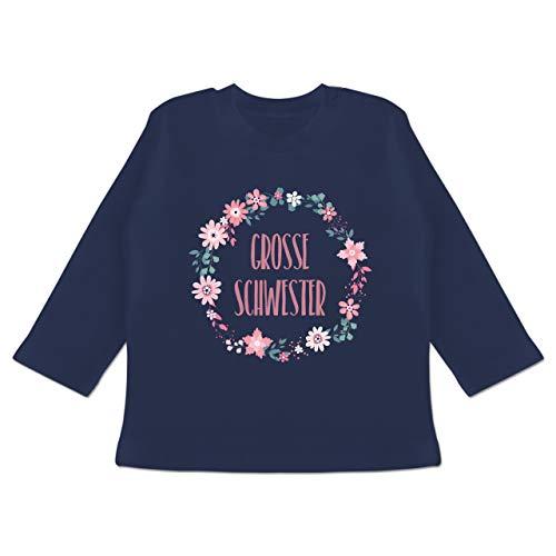 Geschwisterliebe Baby - Große Schwester Blumen - 6/12 Monate - Navy Blau - große Schwester kleine Schwester Langarm - BZ11 - Baby T-Shirt Langarm