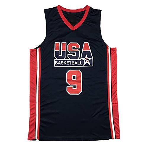 CLKI # 9 Michael Jordan EE.UU. Equipo de ensueño Jersey de Baloncesto, Camiseta de Sudadera Transpirable de Secado rápido al Aire Libre para Hombre Black-XL