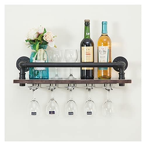 LWF Botelleros Vino Montados En La Pared Rústica Industrial Tienen 10 Copa De Vino, Porta Botella de Vino Madera Metal, Estante De Vino Multifunción para Cocina Bar Casas