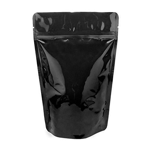Stand-up Food Pouch Black Shiny Ziplock Zipper Foil Lined Food Bag 2 Ounce - Smell, Odor, Leakproof Protection FDA and USDA Food Compliant (10 Pack)
