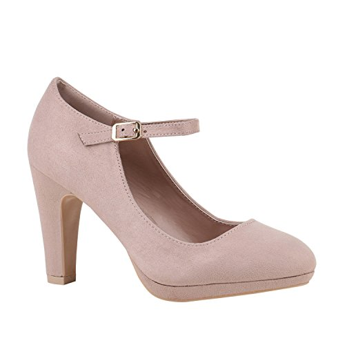Damen Schuhe Plateau Pumps Lack Spangenpumps High Heels Blockabsatz 152435 Creme Velours Basic 41 Flandell