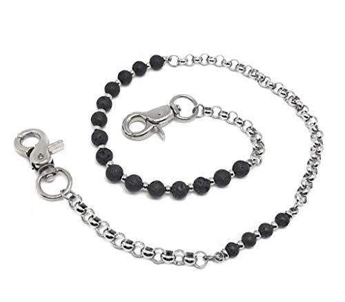 KUSTOM FACTORY Chaine Portefeuille Custom Perle Noire Pierre de Lave