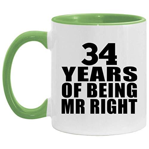 34th Anniversary 34 Years Of Being Mr Right - 11oz Accent Mug Green Kaffeebecher 325ml Grün Keramik-Teetasse - Geschenk zum Geburtstag Jahrestag Weihnachten Valentinstag