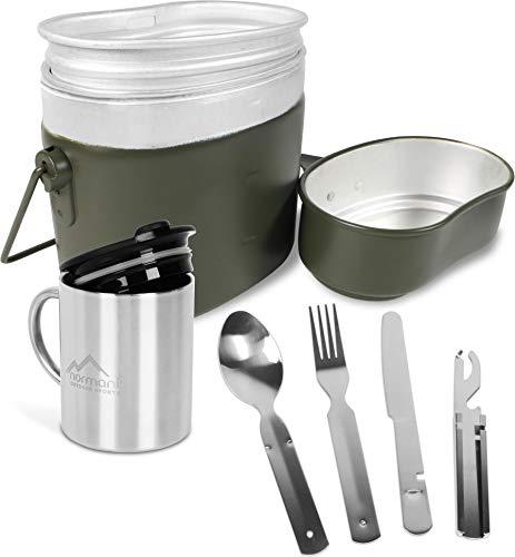 normani Kochgeschirr Set aus Bundeswehr Aluminium Kochgeschirr + BW Besteck mit Flaschenöffner und rostfreier Edelstahltasse mit Trinkdeckel Farbe Olive
