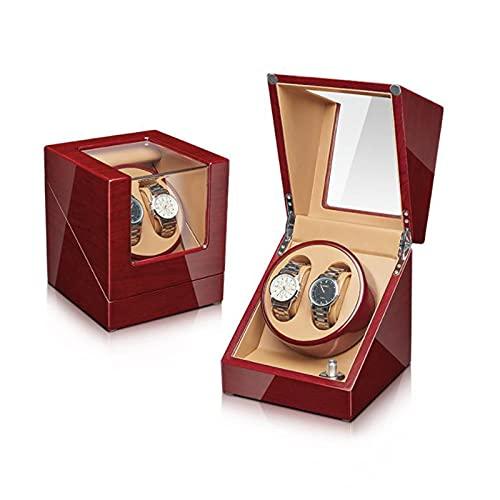 Caja Giratoria para Relojes Reloj Caja De Winder, Bajo Ruido Gire Watcher Windoer Modo De Devanado De 5 Velocidades Reloj Mecánico De Cuero De La Pu Auto-bobinado Reloj De Relojería Caja De A(Color:A)