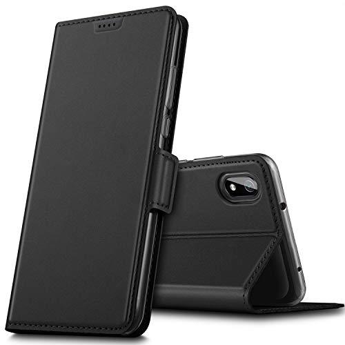 GEEMAI für Xiaomi Redmi 7A Hülle, handyhüllen Flip Hülle Wallet Stylish mit Standfunktion & Magnetisch PU Tasche Schutzhülle passt für Xiaomi Redmi 7A Phone, Schwarz