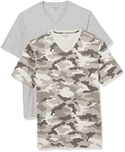 Amazon Essentials 2-Pack Slim-Fit V-Neck T-Shirt Camiseta, Gris Camo/Gris Heather, M, Pack de 2