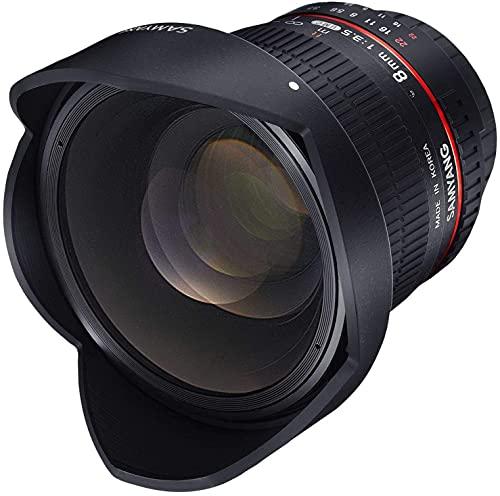 Oferta de Samyang F1121904101 - Objetivo fotográfico DSLR para Pentax (Distancia Focal Fija 8mm, Apertura f/3.5-22 UMC, Ojo de Pez, CSII), Negro