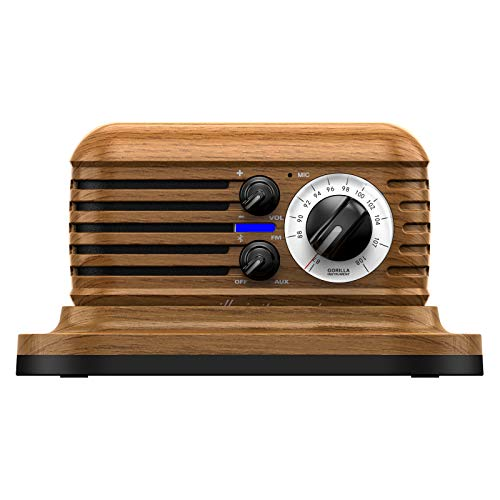 Kkachi Retro Bluetooth Speaker,Vintage Portable Radio Speaker,AUX-in and FM Radio for Home and Office,with Wireless Charging Cradle,Compatible with Bluetooth 5.1, Stereo Bass Boost (Light-Brown)