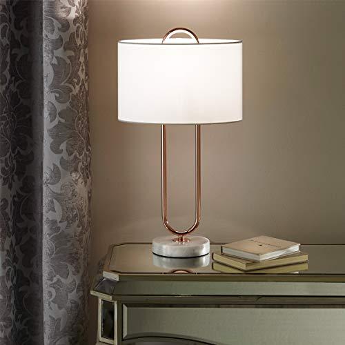 CGC - Lámpara de mesa moderna de mármol blanco con pantalla de lino blanco