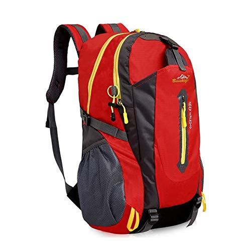 40L Lightweight Hiking Backpack, Baishiqi Multi-functional Water-resistant Casual Camping Trekking Rucksack for Cycling Travel Climbing Mountaineer Outdoor Sport - Red