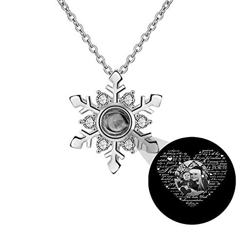 Collar de proyección personalizado Collar de foto 100 idiomas TE QUIERO Collar Colgante de copo de nieve Collar de memoria(Plata Blanco y negro 18)