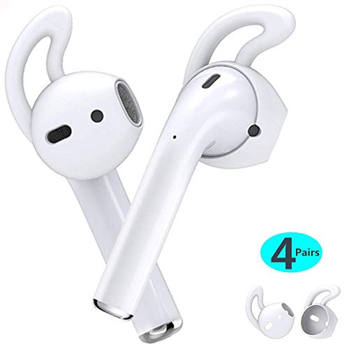 MRPLUM Earplugs 4 Paar AirPods Ohrhaken Silikon-Ohrstöcke Hüllen Earhooks Anti-Rutsch Eartips Halter Zubehör Kompatibel mit Apple AirPods 1&2 / EarPods Ohrhörer-Ohrstöpsel Freizeit Sport (Weiß)