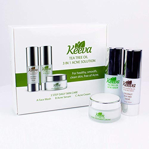 Ultimate Acne Treatment 3-in-1 System - Get Acne-FREE Skin in Just 3 Days with Keeva's 7x Faster Organic Tea Tree Oil Acne System. Includes Patent Pending Acne Cream, Serum, Face Wash…