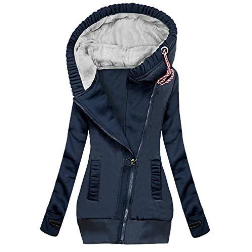 Sunggoko Sudadera con capucha para mujer con forro largo, para otoño e invierno, de manga larga, elegante, con bolsillo con cremallera 01, 03-azul marino, M