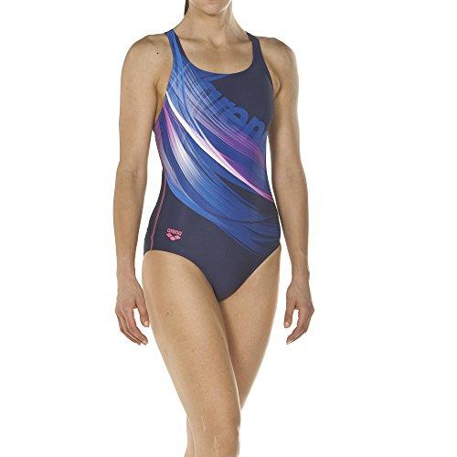 arena Damen Sport Badeanzug Prisma (Schnelltrocknend, UV-Schutz UPF 50+, Chlorresistent), Navy-Aphrodite (709), 38