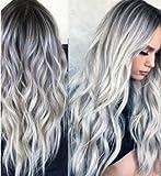 Peluca de onda gris plateado para mujer con raíces oscuras, larga ondulada, resistente al calor, para uso diario, fiesta espectáculo, aspecto natural de Halloween (gris oscuro enraizado)