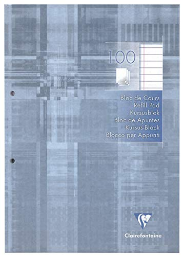 Clairefontaine 5814C - Un Bloc de Cours Perforé 2 Trous 200 Pages 21 x 29,7 cm 90 g Lignées avec Marge, Couverture Couleur Gris