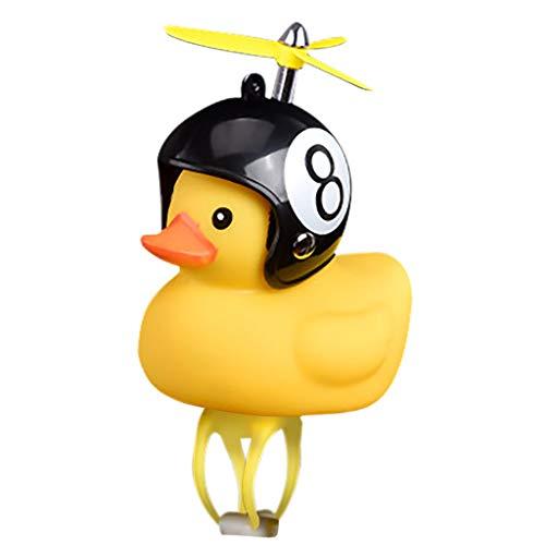 BAULMD Kreativ Fahrradhupe Helm Ente Glocke mit Kinder Klingel Kinderfahrrad,niedlich LED Kleine Gelbe Ente Lichterkette Fahrrad-Frontlichter (I)