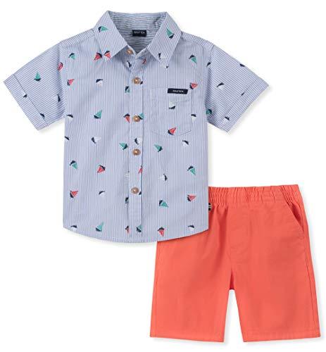 Nautica Baby Boys 2 Pieces Shirt Shorts Set, Blue Print, 6-9 Months
