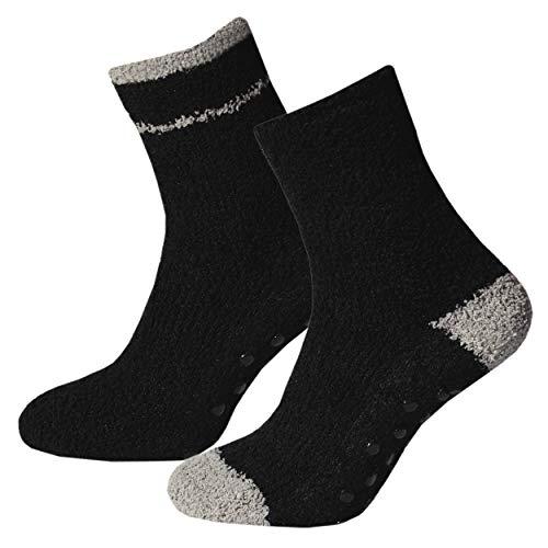 Premium Socks 2 Paar Herren Softsocken mit ABS Socken Antirutsch Socken Stoppersocken Noppensocken Homesocks Sportsocke in Schwarz Größe 43-46