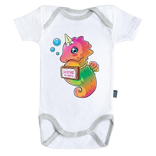 Baby Geek Licorne des Mers - Body Bébé Manches Courtes - Coton - Blanc - Coutures Grises (12-18 Mois)