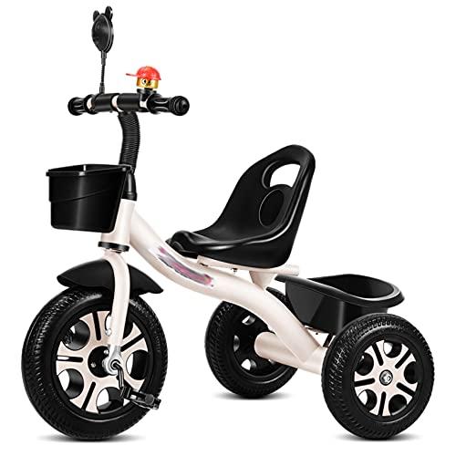 GUORZOM Triciclo Bambini, Bicicletta Senza Pedali, Tricicli, per 1-6 Anni Triciclo Bimba e Bimbo con Sedile di Sicurezza, Cestino portaoggetti, Pedali, Triciclo per Bambini,Bianca,Without Push Handle