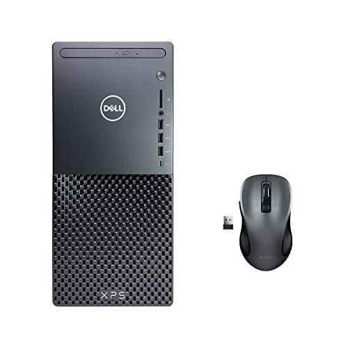 Dell_XPS 8940 Tower Desktop Computer + TEKi Wireless Mouse - 10th Gen Intel Core i7-10700 up to 4.80 GHz CPU, 64GB RAM, 512GB SSD + 8TB HDD, AMD Radeon RX 580 8GB, DVD Burner, Windows 10 Home, Black