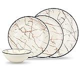 Bonsoo Geschirrset 24-teilig aus Porzellan für 6 Personen | Suppenteller,Flache Essteller,Dessertteller,Schüssel | Hochwertiges Vintage Tafelservice Kombiservice | Marmor Optik weiß/Bordeaux-Rot