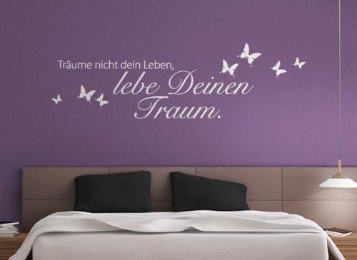 Grandora W773 Wandtattoo Zitat Träume Nicht Dein Leben. + Schmetterlinge Schlafzimmer Wohnzimmer schwarz 120 x 35 cm