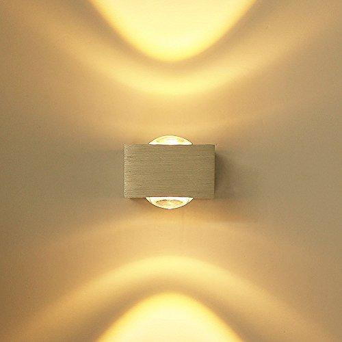 ETiME LED Wandleuchte innen Wandlampe Mini Flurlampe Treppenleuchten Deckenleuchte up down effekt 6W (6W warmweiß mit Konvexlinse)