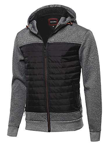 Style by William Reverse Coil Color Zipper Fleece Lining Padded Jacket H Grey Black XL