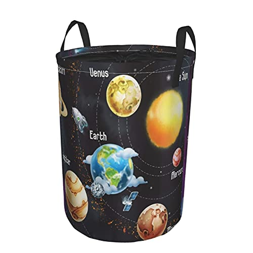 Thickened Large Sized Laundry,Solar System Of Planets Milky Way Neptune Venus Mercury Sphere,Drawstring Round Linen Collapsible Storage Basket,Dirty Clothes Hamper For Bedroom(22'X19')