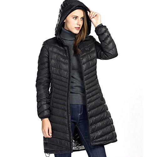 LYzpf Beheizte Jacke Lange Daunenjacke Herren Hoodies USB wiederaufladbar Beheizbare Kleidung Winterwärmer Bekleidung für Outdoorarbeiten & Tägliches Tragen,Black,S