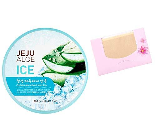 SoltreeBundle Korean Jeju Aloe Vera Ice Refreshing Soothing Moisturizing Gel 300ml / 10.15oz with SoltreeBundle Oil blotting Paper 50pcs