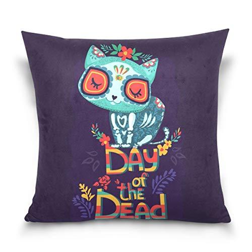 hengpai Day Dead Cartoon Square Pillow Cases Decorative Pillow Cover Cotton Velvet for Couch Safa